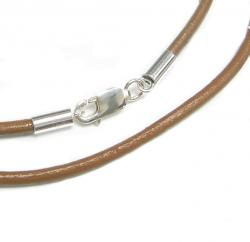 1x Sterling Silver Light Brown leather cord 2mm choker necklace 22""