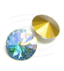 2x Swarovski Elements Rivoli Stone Crystal 1122 Crystal AB 18mm