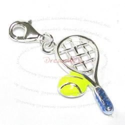 STERLING SILVER Tennis Racket and Ball Enamel  Dangle CHARM Pendant for European Style  Clip on Charm
