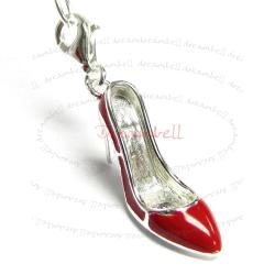 STERLING SILVER High Heel Shoe  Enamel Dangle CHARM Pendant for European Style  Clip on Charm
