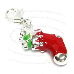 STERLING SILVER Christmas Gift Sock Dangle CHARM Pendant for European Style  Clip on Charm