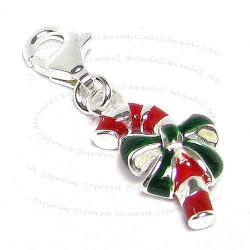 STERLING SILVER Christmas Gift Stick Candy Cane  Enamel Dangle CHARM Pendant for European Style  Clip on Charm