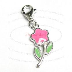 STERLING SILVER Flower  Enamel Dangle CHARM Pendant for European Style  Clip on Charm