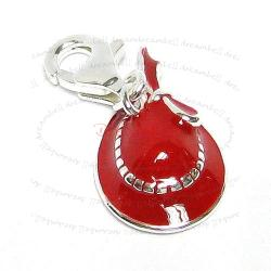STERLING SILVER Lady Hat  Enamel Dangle CHARM Pendant for European Style  Clip on Charm