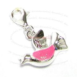 STERLING SILVER Dove Bird CZ  Enamel Dangle CHARM Pendant for European Style  Clip on Charm