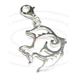 STERLING SILVER Filigree Tropical Fish Dangle CHARM Pendant for European Style  Clip on Charm