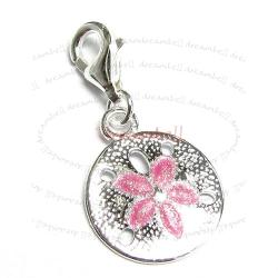 STERLING SILVER Round Flower  Enamel Dangle CHARM Pendant for European Style  Clip on Charm