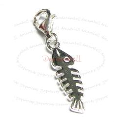 STERLING SILVER Fish Bone Dangle CHARM Pendant for European Style  Clip on Charm