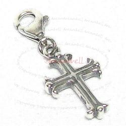 STERLING SILVER Holy Cross Dangle CHARM Pendant for European Style  Clip on Charm