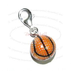 STERLING SILVER Basketball Ball  Enamel Dangle CHARM Pendant for European Style  Clip on Charm