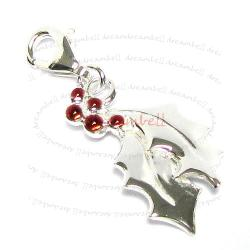 Sterling Silver Red Enamel Christmas Leaf Flower Dangle Charm Pendant for European Lobster Charm
