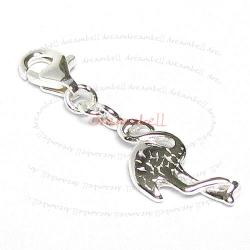 STERLING SILVER Crane Bird Dangle CHARM Pendant for European Style  Clip on Charm