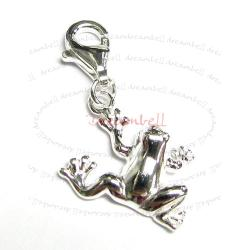 STERLING SILVER Jumping Frog Dangle CHARM Pendant for European Style  Clip on Charm