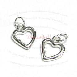 2x Sterling silver Little Heart  dangle Pendant Charm 13mm