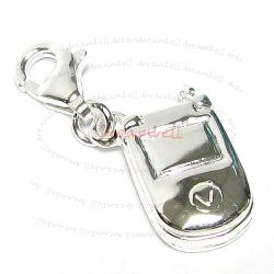 STERLING SILVER Mobile Cellular Phone Dangle CHARM Pendant for European Style  Clip on Charm