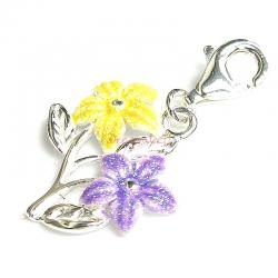STERLING SILVER Flower and Leaves  Enamel Dangle CHARM Pendant for European Style  Clip on Charm
