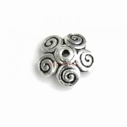 6x Antique Sterling Silver Flower Five Petal Swirl Bead Cap 7mm x 2mm