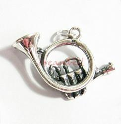 1 BALI STERLING SILVER FRENCH HORN DANGLE CHARM PENDANT