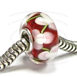 Sterling Silver ROUND Murano Flower Red Glass Bead for European Charm Bracelets