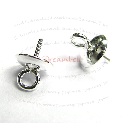4x  Sterling Silver eye pins w/ 6mm cup pearl  pendant connector Bail