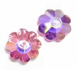4x Swarovski Elements Crystal 3700 Margarita Beads Rose AB 12mm