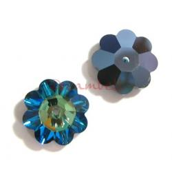4x Swarovski Elements Crystal 3700 Margarita Beads Bermuda Blue 12mm