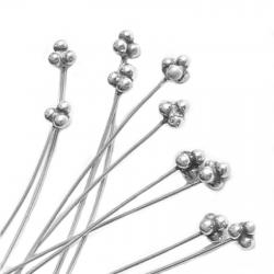 10 Sterling Silver Bali Head pins Ball dot Headpins 24GA 2""