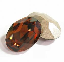 2x Swarovski Elements Oval Cabochon Stone Crystal 4120 Smoked Topaz 18mm x 13mm