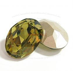 2x Swarovski Elements Oval Cabochon Stone Crystal 4120 Khaki 18mm x 13mm