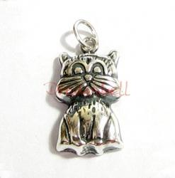 1 BALI STERLING SILVER CUTE KITTY CAT DANGLE CHARM PENDANT