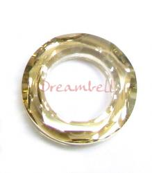Swarovski 4139 Round Cosmic Ring Frame Crystal Golden Shadow 14mm
