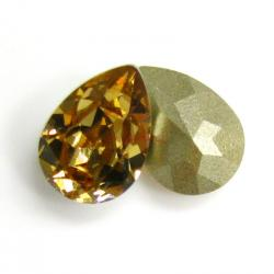 2x Swarovski Elements Olive Pear Stone Crystal 4320 Light Colorado Topaz Foiled 14mm x 10mm