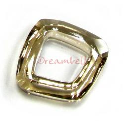 1x Swarovski Elements 4437 Cosmic Square Ring Golden Shadow 14mm