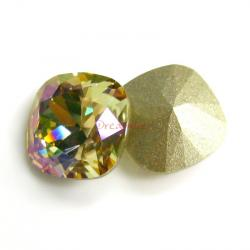 2 Swarovski Elements Crystal 12mm 4470 Cushion Square Luminous Green Foiled Stone