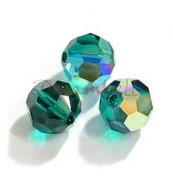 6x Swarovski Crystal Elements Round Faceted 5000 Emerald AB 8mm