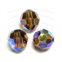 6 Swarovski Crystal Elements 5000 Bead Smoked Topaz AB 8mm