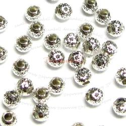 10 Sterling Silver ROUND Pyramid Cut CORRUGATED Bead Spacer 3mm