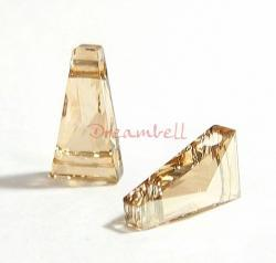 2x Swarovski Crystal Elements 5181 Keystone Bead 2-hole 13mm Golden Shadow