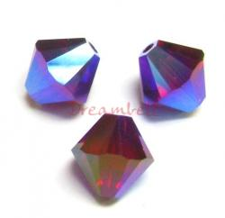 12 Swarovski Elements Xilion Crystal 5328 Siam Red AB 2x 8mm