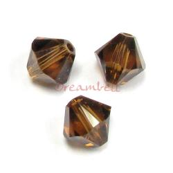 24 x Swarovski Elements Xilion Crystal 5328 Smoked Topaz 4mm