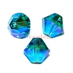 24x Swarovski Elements Crystal 5328 Xilion Blue Zircon AB 2x 4mm