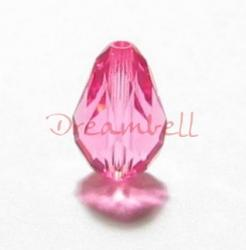 6x SWAROVSKI Crystal 5500 Teardrop BRIOLETTE BEADS Rose Pink 9x6mm