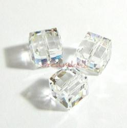 6x Swarovski Elements Crystal 5601 Clear Cube Bead 4mm