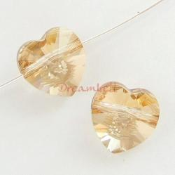 4x Swarovski Elements Crystal 5742 Heart Golden Shadow 10mm New