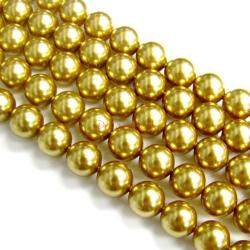 50x Swarovski Crystal Pearls 5810 Round Bright Gold 8mm