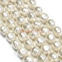 2x Swarovski Crystal Pearls 5840 Baroque White 14mm