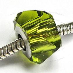 1x SWAROVSKI CRYSTAL 5920 BeCharmed HELIX Bead Olivine 14mm