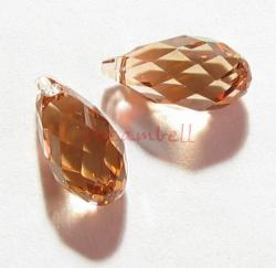 2x Swarovski Elements Crystal Teardrop Briolette 6010 Lt Colorado Topaz 11mm