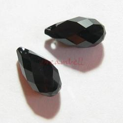 2x Swarovski Elements Crystal Teardrop Briolette 6010 Jet Black 11mm
