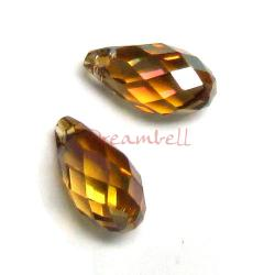 2x Swarovski Elements Crystal Teardrop Briolette 6010 Copper 11mm